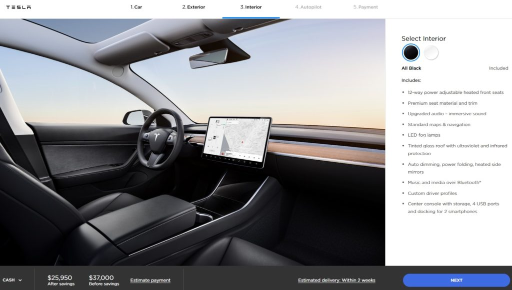 Interior Tesla Model 3 Standard Range Plus