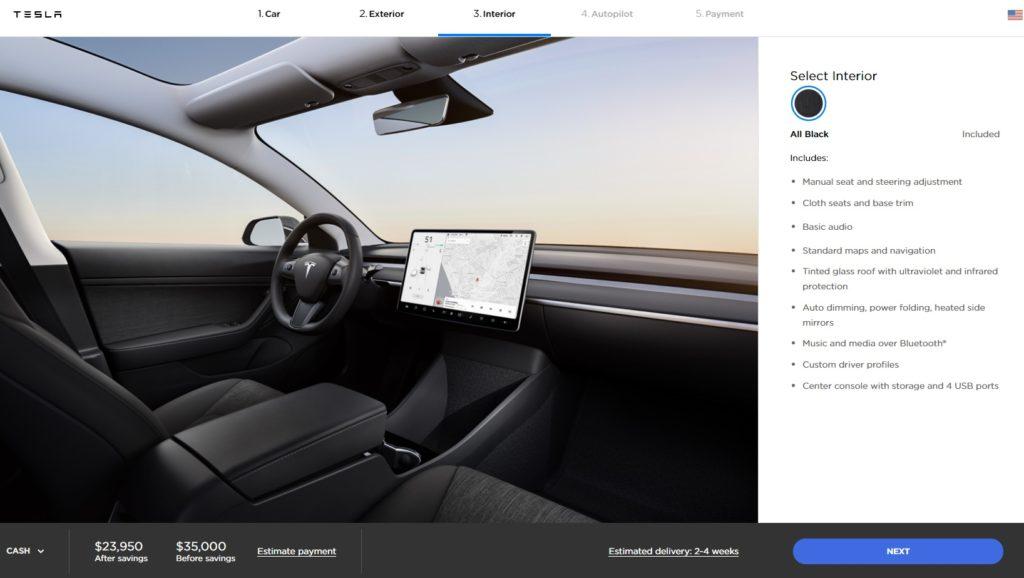 Interior Tesla Model 3 Standard Range