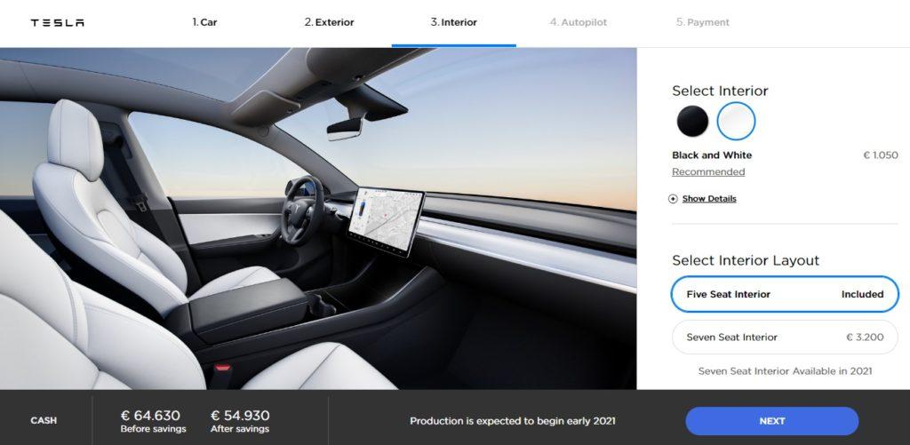 Configurador interior Tesla Model Y