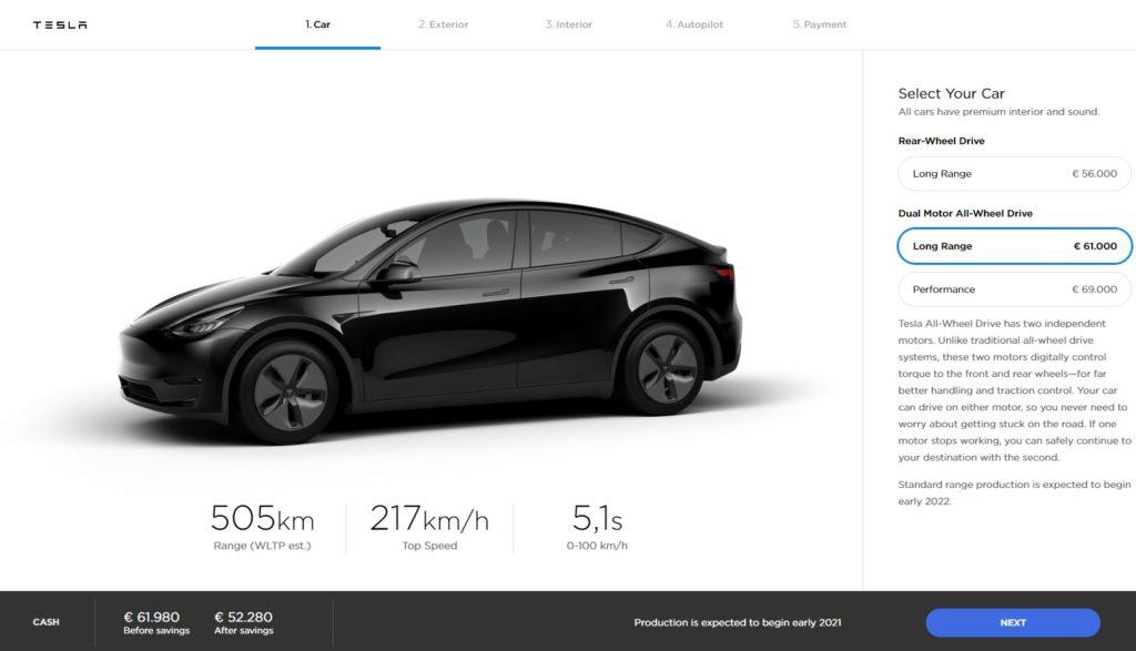 Configurador Tesla Model Y Long Range AWD