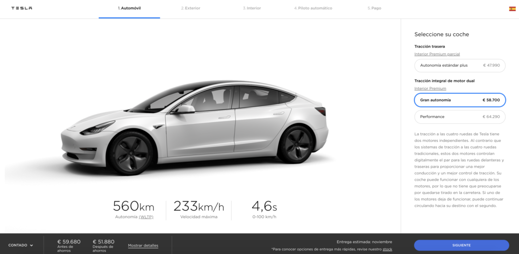 Configurador Tesla Model 3 Long Range AWD