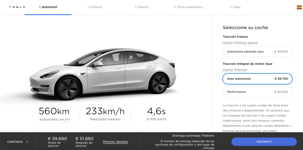 Configurador del Tesla Model 3 Long Range AWD