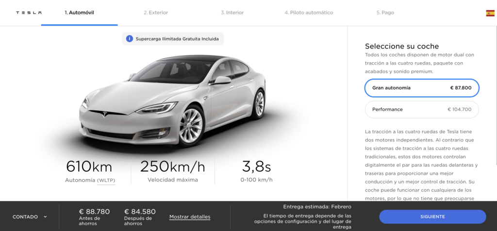 Configurador Tesla Model S Long Range