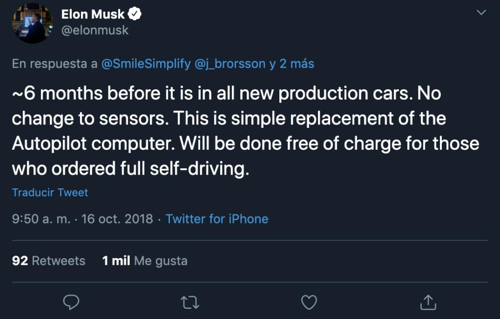 Tuit de Elon Musk sobre FSD y HW3